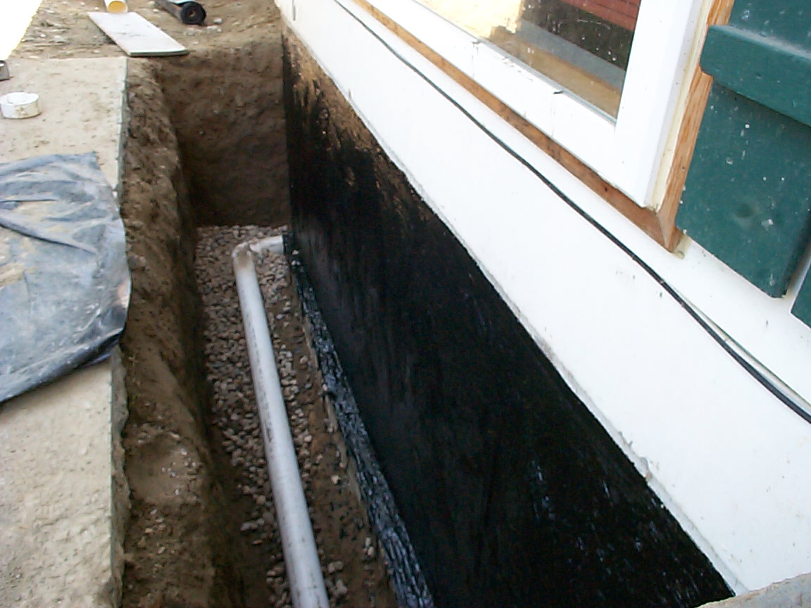 Exterior foundation footing drain for crawl space allied waterproofing drainage Exterior basement waterproofing